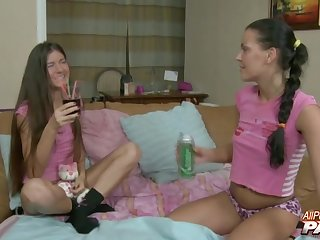 Lesbo entourage Ekaterina Afanasyeva and Ganna Fedas shot at anal sex