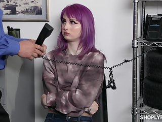 Emo girl with purple be alive Val Steele is punished with hard banging