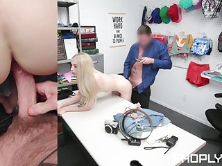 Petite shop lifter gets her pussy ruined at the end of one's tether the security chief