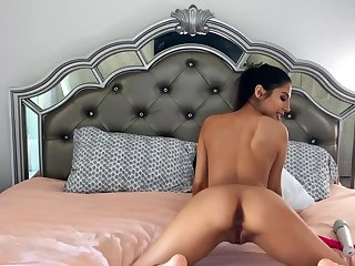 Spicy Latina chick is playing with that broad in the beam Hitachi magic wand