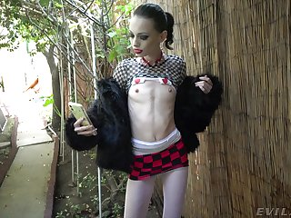 Skinny slut Aria Haze gets rough fucked and masked with cum