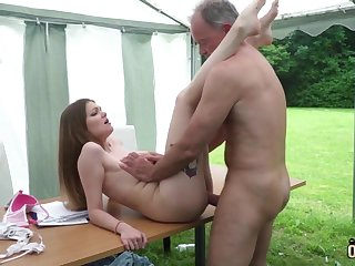Youthfull nubile entices increased by tears up elderly fellow exhausted enough facial cumshot pop-shot
