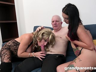 Grandpa fucks his niece with an increment of his wife in a fluorescent unprofessional threesome