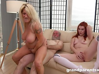 Mature with broad in the beam arse and big tits, crazy lodging porn with hubby and their niece