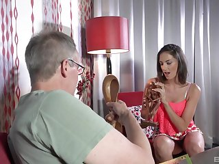 Thin hottie suits her stepdad's energized needs with middling fucking