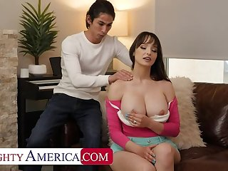 NAUGHTYAMERICA Busty brunette Lexi Luna gets her hole stretched out by son's yoga crammer friend