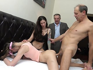 Special treat for these skinny whores take their home foursome