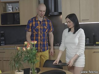 Unfold dude pleases the plate brunette with the biggest dick