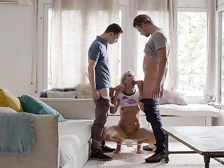 Young blonde delights with two big dicks in admirable manners