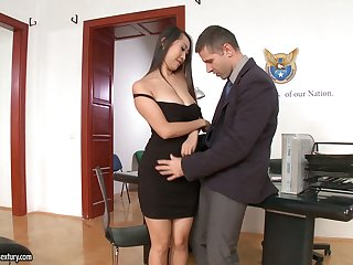 Four slutty secretaries in addition to Asian Sharon Lee trip strong cock on top