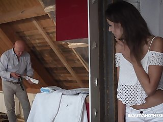 Hot gal gets a visit from an old hotelier and then decides to fuck him