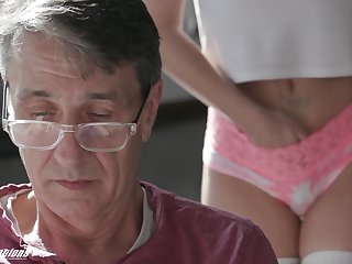 A stepdad has a secret admirer and his cute stepdaughter fucks get a bang crazy