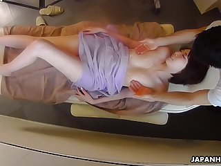 Downcast sebaceous massage for Japanese lady Aya Kisaki overage up with cunnilingus
