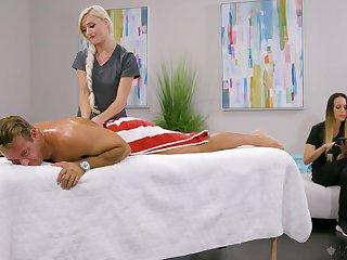Astounding blonde masseuse Morgan Rain has noticed hard boner and rides client